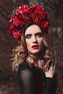 Ozdoby do vlasov - Červená kvetinová parta - 9385515_