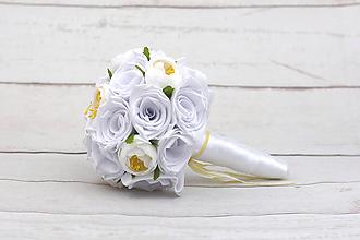 Kytice pre nevestu - Saténová kytica svadobná biela ruže a pivónie - 9387217_