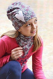 Detské súpravy - Tenká čiapka srdiečka + šatka na krk - 9386204_