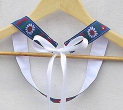Opasky - Dámsky opasok folk modrý s bielymi stuhami - 9387133_