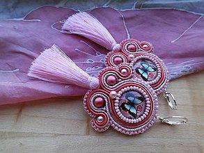 Náušnice - Šujtášové náušnice s motýlikmi (Ružové s motýlikom) - 9389883_