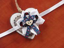 Náramky - Č. 67 Folklórne náramky v modrom so srdcom - 9390170_