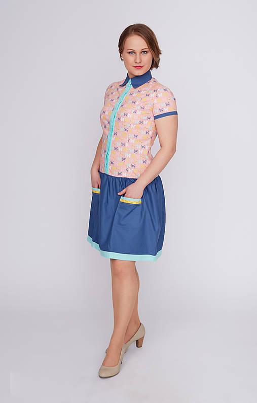 Šaty - Veselé motýlie šaty, košeľové - 9394743_