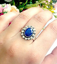 Prstene - Vintage Sapphire Silver Plated Ring ag 925 / Postriebrený elegantný prsteň so zafírom #0308 - 9391494_
