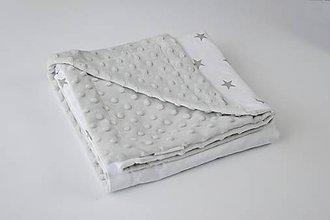 Textil - Minky deka grey / sivé hviezdičky na bielom 70*100cm - 9391143_