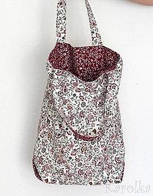 Veľké tašky - Veľká textilná taška - Lúka / bordová - 9391636_