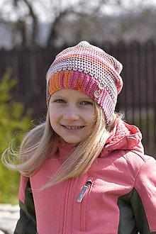 Detské čiapky - Zľava zo 14 na 10 eur-Oranžovo-ružovo- hnedá čiapka - 9394313_