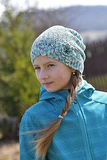 Detské čiapky - Zľava zo 14 na 10 eur-Modro-šedo-biela čiapka - 9394436_
