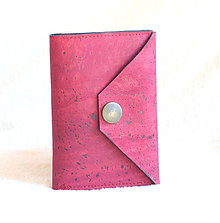 Peňaženky - Korková peňaženka mini bordo - 9393493_