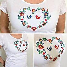 """Tričká - Vyšívané dámske tričko s ľudovým motívom """"srdce"""", krátky rukáv - 9392129_"""