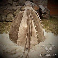 Čiapky - Keltská kožená čiapka, béžová s hnedou, rekonštrukcia nálezu Hallstatt - 9392937_