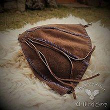 Čiapky - Keltská kožená čiapka, hnedá s modrým ľanom, rekonštrukcia nálezu Hallstatt - 9392965_