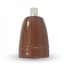Iný materiál - Porcelánová objímka E27 • hnedá farba - 9393818_