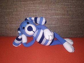 Hračky - Háčkovaný psík - modrý - 9390472_