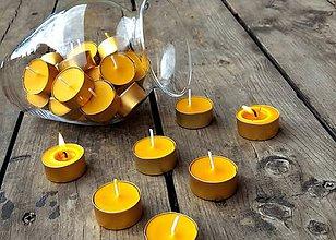 Svietidlá a sviečky - Čajová svíčka klasik ze včelího vosku - 9394185_