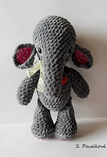 Hračky - háčkovaný sloník - 9393689_