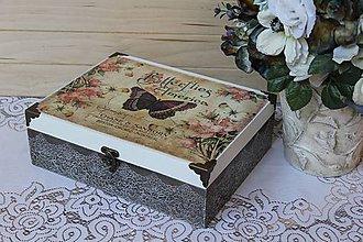 Krabičky - veľká dvojúrovňová šperkovnica Motýľ - 9390425_
