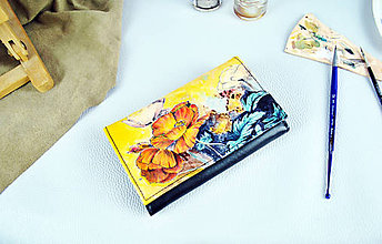 Peňaženky - Ručne maľovaná peňaženka s motívom Makov - 9390510_