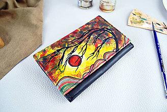 Peňaženky - Maľovaná kožená peňaženka s motívom Wind - 9390532_