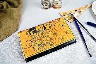 Peňaženky - Maľovaná kožená peňaženka inšpirovaná motívom Gustav Klimt - 9390548_