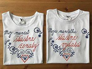 Tričká - Maľované tričká pre mladomanželov s ľudovým motívom a nápismi : - 9392667_