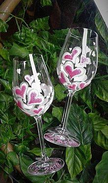 Nádoby - Svadobné poháre Heart Pink - 9393507_