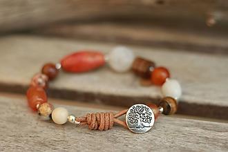 Náramky - Boho náramok z minerálov karneol, korál, achát, jaspis, tigrie oko - 9394020_