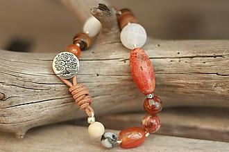Náramky - Boho náramok z minerálov karneol, korál, achát, jaspis, tigrie oko - 9394022_