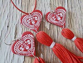 Sady šperkov - FOLKLÓRNA sada so strapcom-červená - 9393960_