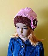 Detské čiapky - Hnedo ruzova bavlnena s ruzou SKLADOM - 9394819_