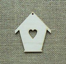 Polotovary - Výrez z preglejky - domček so srdiečkom, 10 cm - 9395173_