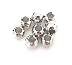 Korálky - Korálky - kovový vzhľad, 6mm, veľký otvor /10ks - 9396120_