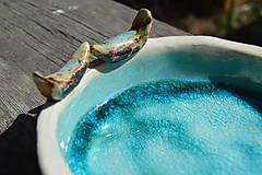 Nádoby - Miska tyrkysovo modrá, s roztopeným sklom a dvoma vtáčikmi II. - 9395388_