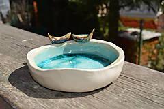 Nádoby - Miska tyrkysovo modrá, s roztopeným sklom a dvoma vtáčikmi II. - 9395393_