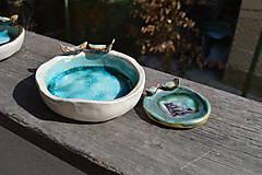 Nádoby - Miska tyrkysovo modrá, s roztopeným sklom a dvoma vtáčikmi II. - 9395446_