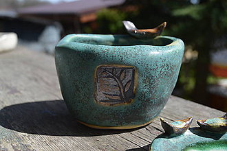 Nádoby - Miska zelená medienková z kameniny, s vtáčikom a miska s vtáčikami - SET. - 9395315_