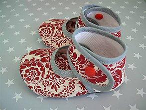 Topánočky - Detské papučky, capačky s koženou podrážkou (Červená) - 9395728_
