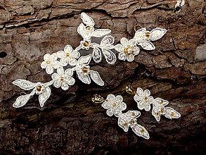 Ozdoby do vlasov - čipková svadobná súprava - ivory + zlatá - 9396154_