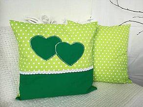 Úžitkový textil - Dekoračné vankúše (Zelená so srdcom) - 9397100_