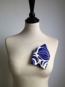 Doplnky - vreckovka do saka Modrý ornament - 9396916_