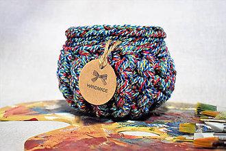 Dekorácie - Buřtíkatý dekorační košík MELANGE 14×10 cm - 9395064_