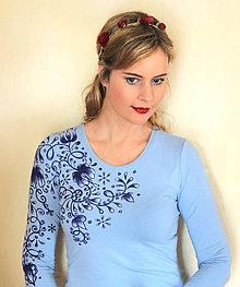 Tričká - Modré maľované... - 9396494_