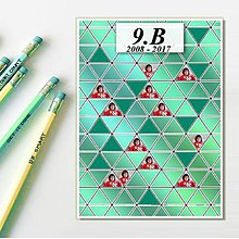 Papiernictvo - Absolventská linajková podložka kov (trojuholníky) - 9396261_
