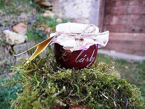 Drobnosti - Gravírovaný pohárik, rebarborovo-višňový džem, Z lásky - 9399150_