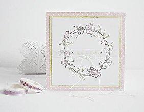 Papiernictvo - Vyšívaný pozdrav - venček ružový - 9397511_