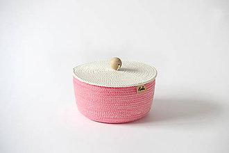Košíky - Košík růžový s pokličkou - 9399262_