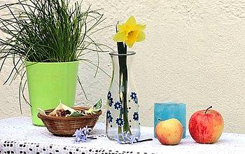 Nádoby - maľovaná fľaša / váza - nezábudky - 9399628_