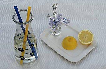 Nádoby - maľovaná fľaša / váza - nezábudky - 9399629_