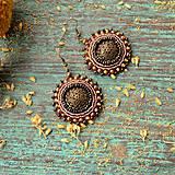 Náušnice - Dentelle de Bronze - vyšívané náušničky - 9399475_