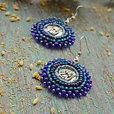 Náušnice - Blue Angels - vyšívané náušnice - 9399509_
